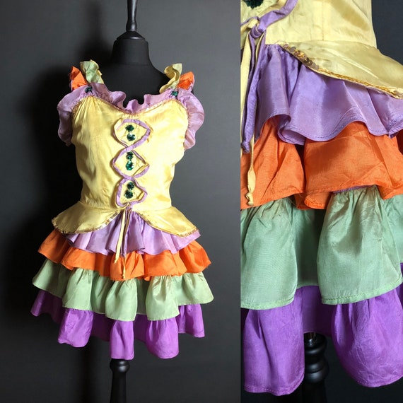 1930s Circus Costume Dress with Sequins and Ruffle