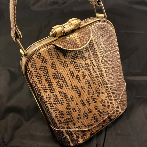 1940s Snakeskin (Possibly Faux) Trapezoid Purse Ha