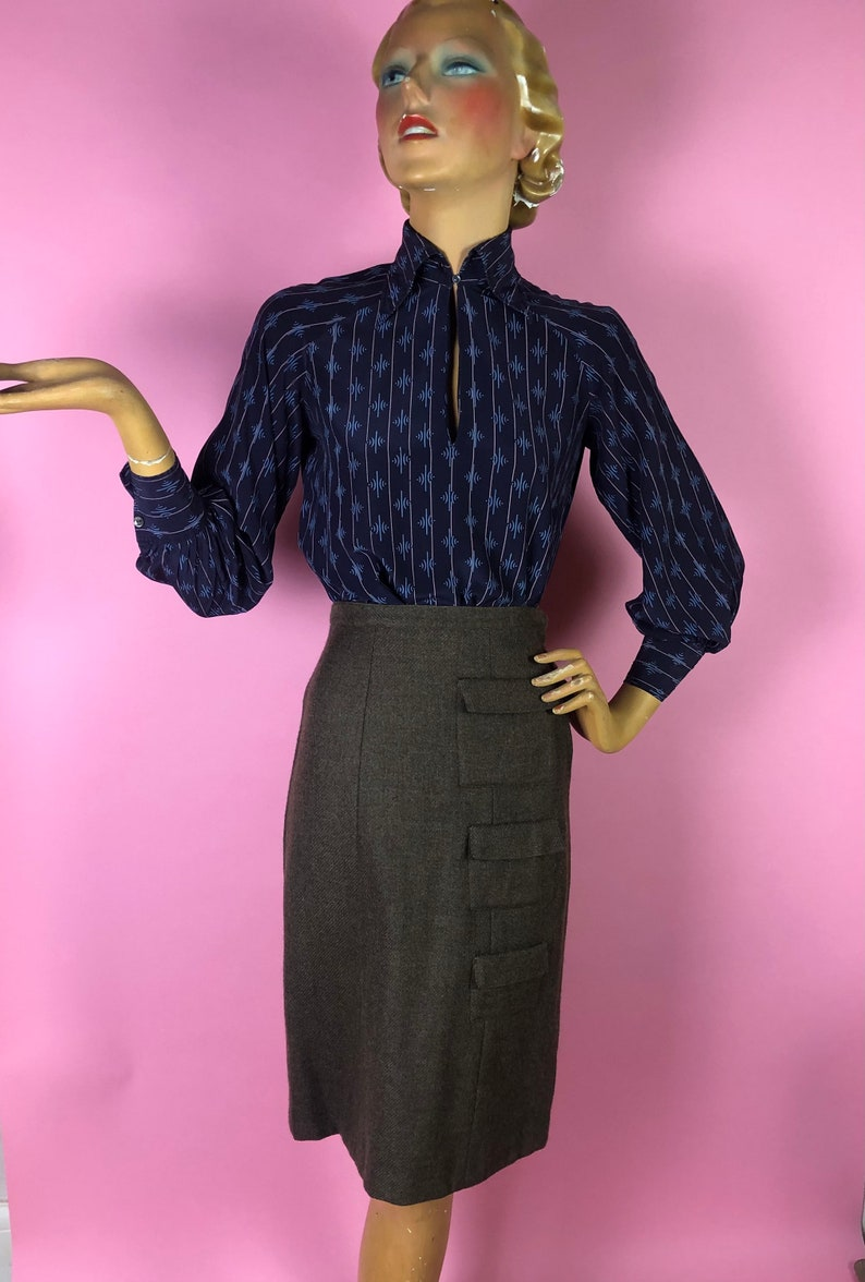 Very Schiaparelli Drawers Style By Sloat 1950s Brown Wool Pencil Skirt with Three Vertical Pockets