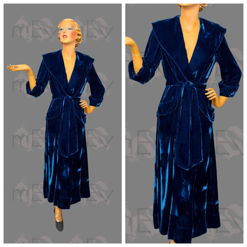 size 40 choose genuine los angeles Gorgeous 1940s Blue Velvet Robe Dressing Gown with Huge Shawl Collar,  Pockets, 3/4 Sleeves, Belt, Full Length, by Su-Kay