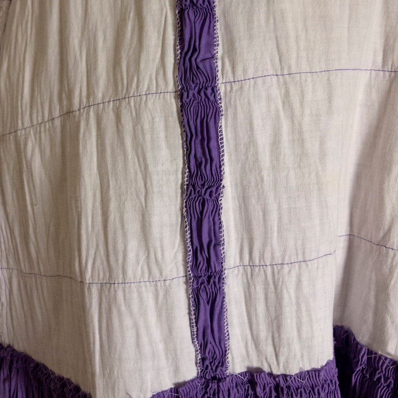 26 inch Waist Unique Vintage Lilac Ruched Underskirt Made Into Skirt Possibly Originally Victorian Or Edwardian Textural Cotton