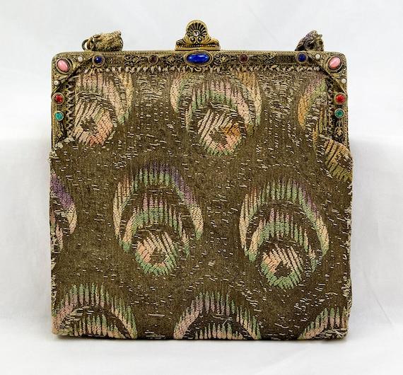 1920s Gold Lamé Evening Handbag Purse with Peacock