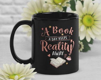Funny Book Coffee Mug, Book Lover Gift, Geek Mug, Reality Away Mug, Gift for Her, Him, Housewarming, Birthday, Book Nerd, Geek Gift, Bookish