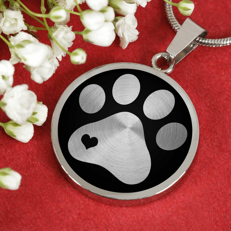 Pet Memorial Pendant Cute Dog Gift Paw Print Necklace Cute Pet Gift Dog Mom Jewellery Gift for Her Cat Lover Jewelry