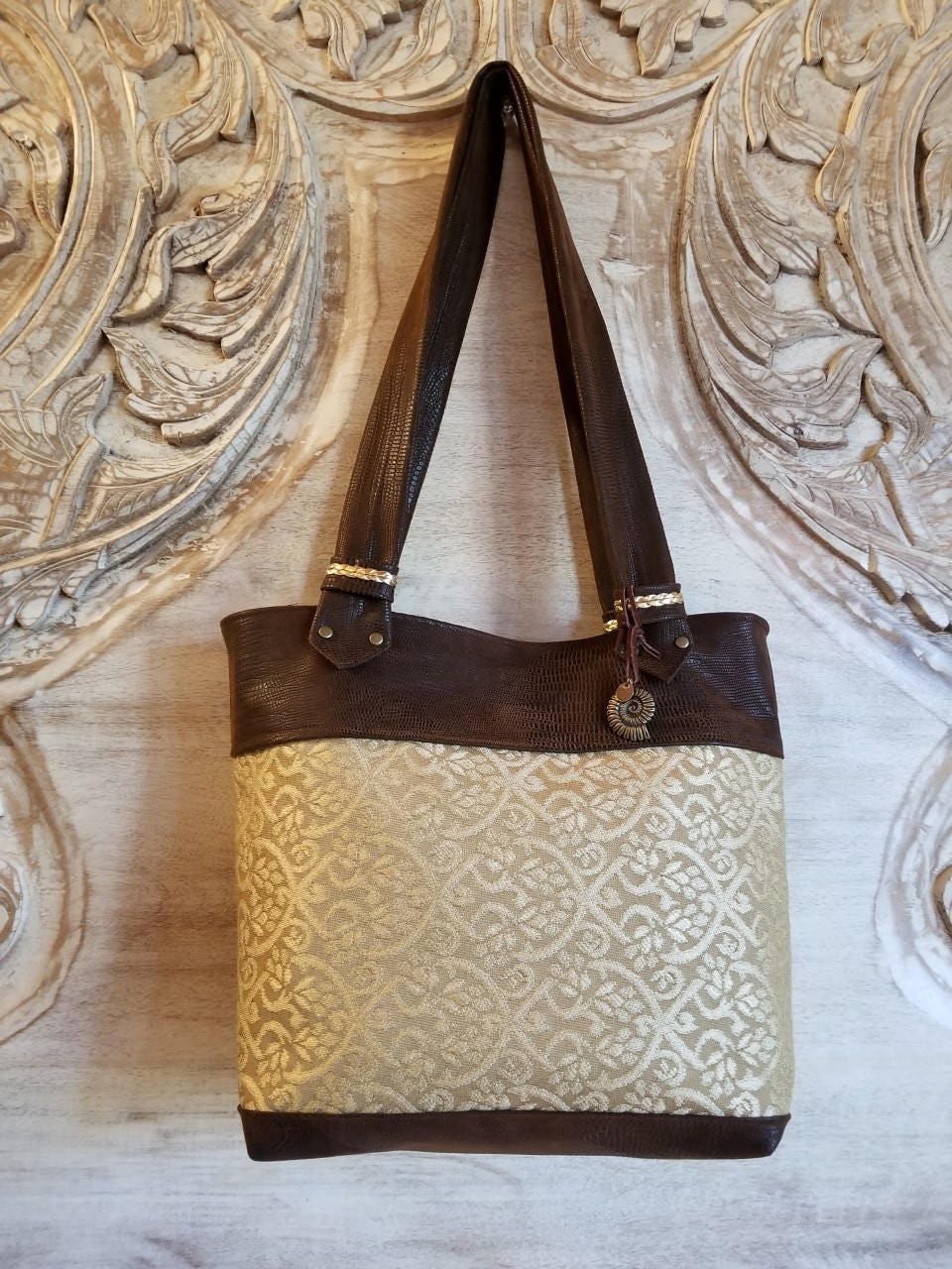 Handmade Gold Upholstery Faux Leather Purse c1574212393e5