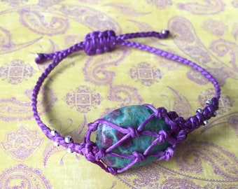 Ruby in Fuchsite Bracelet, Macrame, Hippy, Crystal