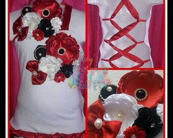 Beautiful flower ruffled shirt criss cross satin ribbon back with handmade satin flower and headband to match