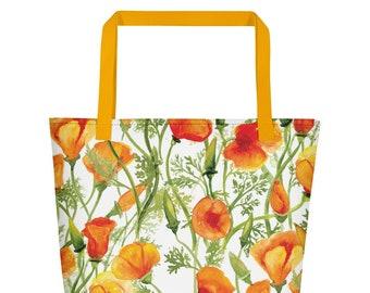 California Poppies Beach Bag