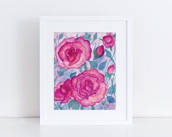 "Sunrise Roses Art Print 8""x10"" with white mat"