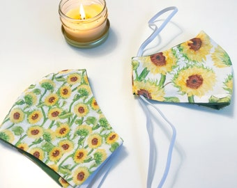 Cloth Face Mask - Watercolor Sunflowers on a White Background - Joyful Florals Series - washable, reusable, elastic head strap