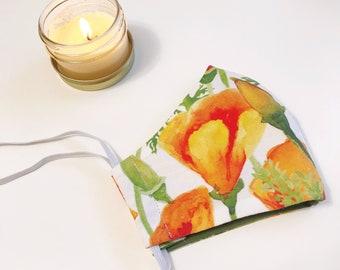 Cloth Face Mask - Watercolor California Poppies - Joyful Florals Series - washable, reusable, elastic head strap