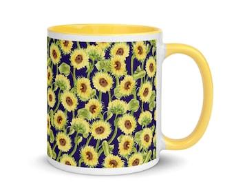 Kansas Sunflowers with Navy Background Mug