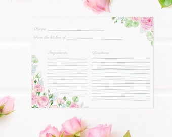 """Recipe Cards Rose Garden Design - Digital Download includes printable sizes 4""""x6"""" and 5""""x7"""""""