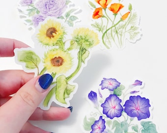 Floral stickers - die cut clear vinyl stickers - California poppy, sunflower, morning glory, singin the blues roses