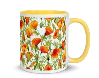 California Poppies Mug with Yellow Handle and Interior