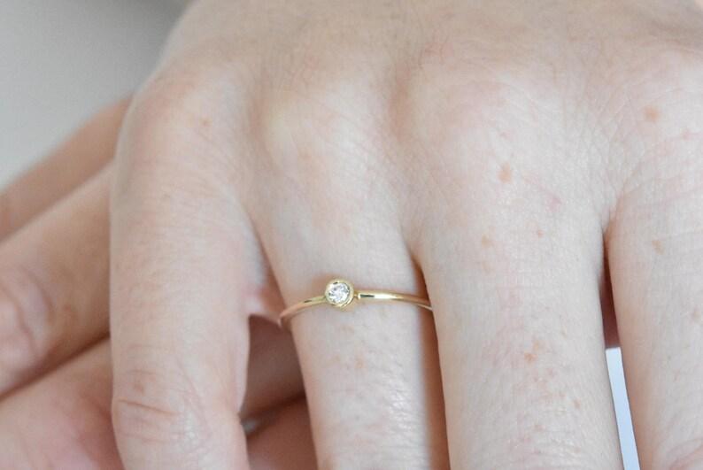 Small Diamond Ring Bezel Diamond Ring Dainty Diamond Ring Alternative Engagement Ring Thin Diamond Band