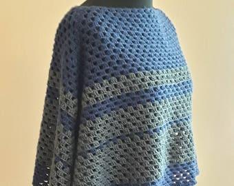 Womens poncho Crochet shawl Crochet poncho Teens poncho Retro style poncho Womens shawl Boho poncho