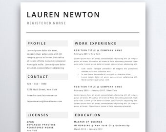 Nursing Resume Template 5 Pages | Nurse Resume Template - Registered Nurse - Nurse CV Template - RN Resume - Medical Resume - CNA Resume