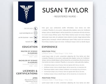 nursing resume template etsy