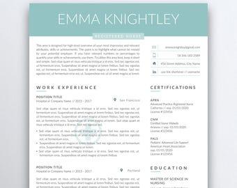 Nursing Resume Etsy