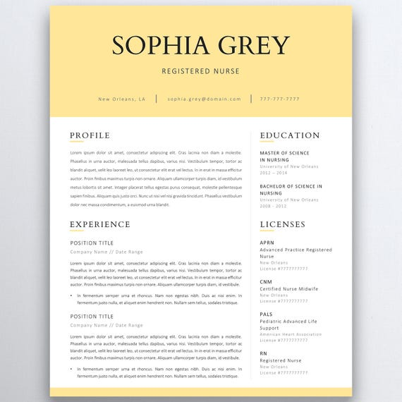 Nursing Resume Template 5 Pages Nurse CV Template | Etsy