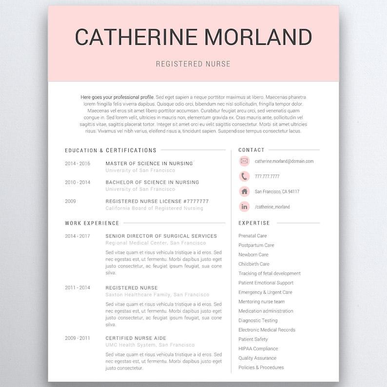 Nurse Resume Template 5 Pages  Nursing Resume Template  image 0