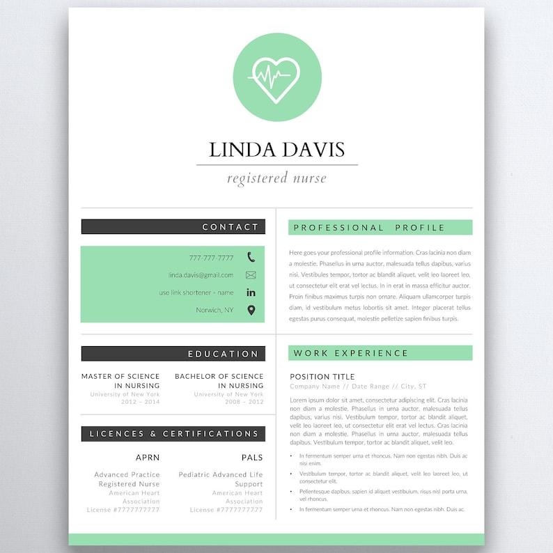 Nursing Resume Template 5 Pages Nurse Resume Template Etsy