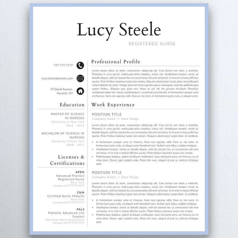 Nurse Resume Template 5 Pages Nursing