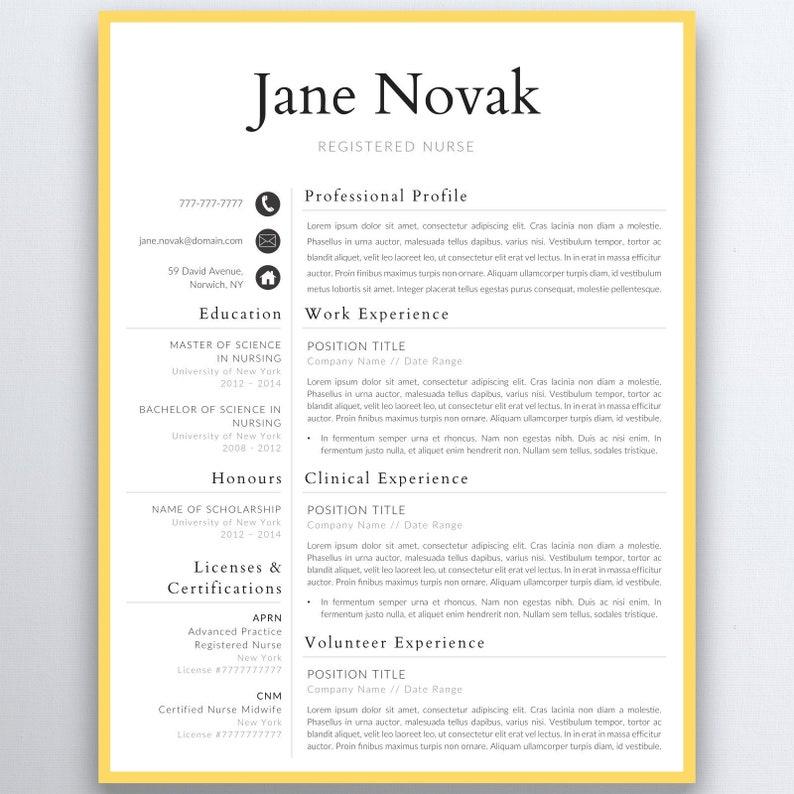 Graduate Nurse Resume Template Nursing Resume Template | Etsy