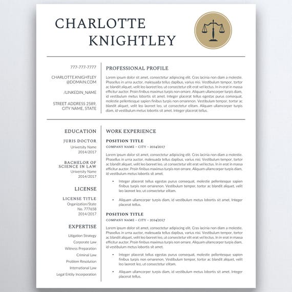 Legal Resume Template - Lawyer Resume - Attorney Resume Template -  Paralegal Resume - Professional Resume - Modern Resume - Assistant Resume