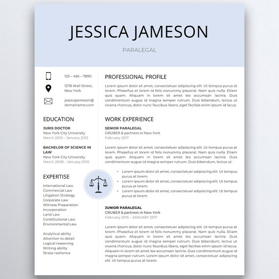 Legal Curriculum Vitae Template from i.etsystatic.com