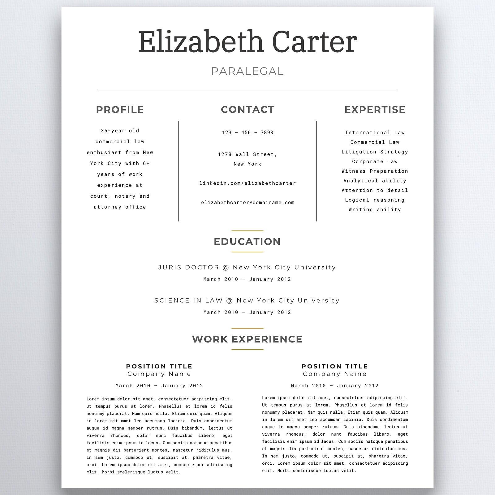 Assistentin Lebenslauf rechtliche Lebenslauf Vorlage   Etsy