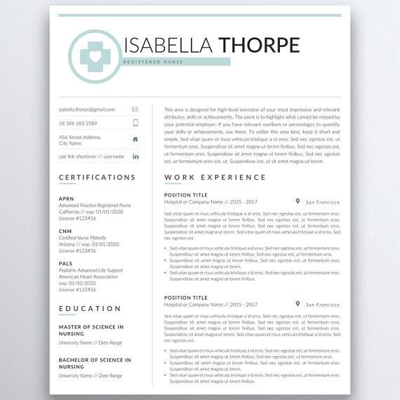Nursing Resume Template 5 Pages Nurse Resume Registered Etsy