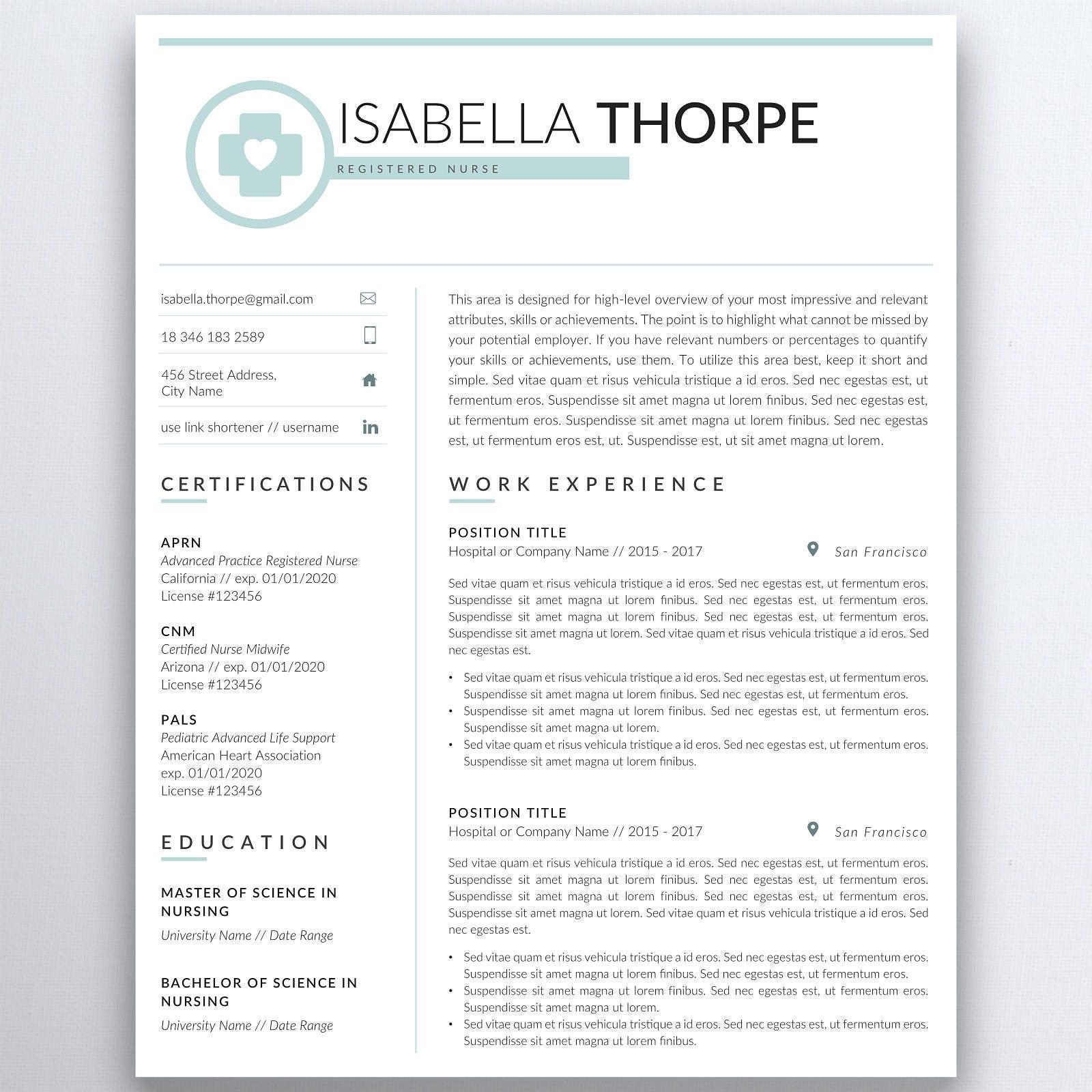 nursing resume template 5 pages nurse resume registered