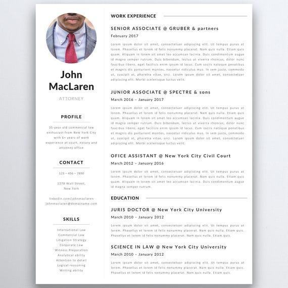 Professionellen Lebenslauf Vorlage Rechtsanwalt Lebenslauf | Etsy