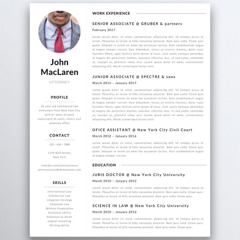 Professional Resume Template Lawyer Resume Legal Resume Template Etsy
