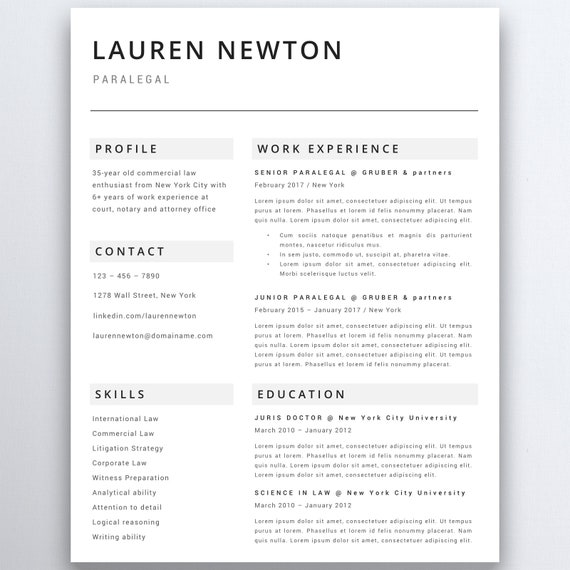 professional resume template lawyer resume legal resume etsy