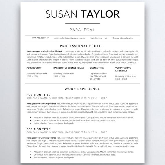 Lawyer Resume Template - Legal Resume Template - Attorney Resume Template -  Paralegal Resume - Professional Resume - Assistant Resume