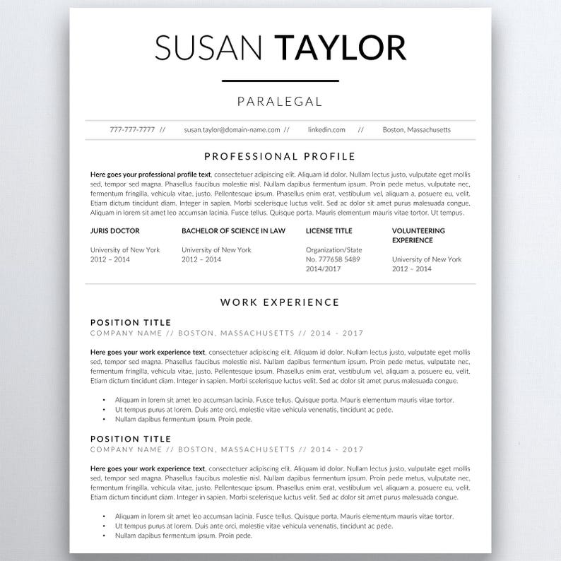 Lawyer Resume Template Legal Resume Template Attorney