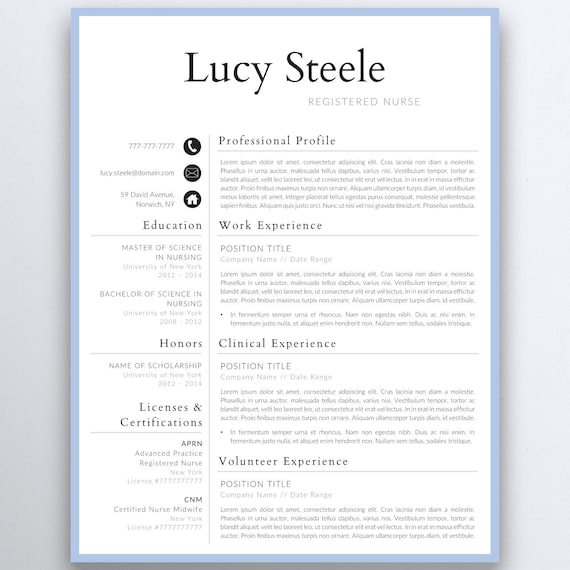 Graduate Nurse Resume Template | Nursing Resume Template - Nurse CV  Template - First job - Medical Resume - CNA Resume - Out of College