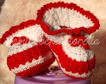 Cute Crochet red Baby Boots, Baby Crochet Shoes, newborn Baby Booties, Crochet Baby Booties, Newborn girl booties, gift for baby