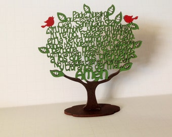 Padre Nuestro Our Lord Spanish Prayer Tree Laser Cut Wood Decoration Our Father Prayer with Stand