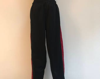 Men's Running Pants Vintage 90's Black Track Pants Sportswear Breakaway Snap Up The Leg Athletic Workout Hip Hop Joggers Trousers Size XL