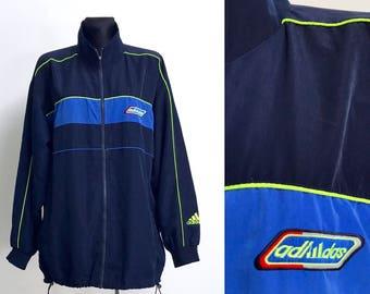 375a8bab921f ADIDAS Vintage Herren Jacke Navy Blau Grün 3 Streifen Blazer Sportplatz  Joggen Strickjacke Retro Adidas Sport Blazer Windbreaker Größe XL