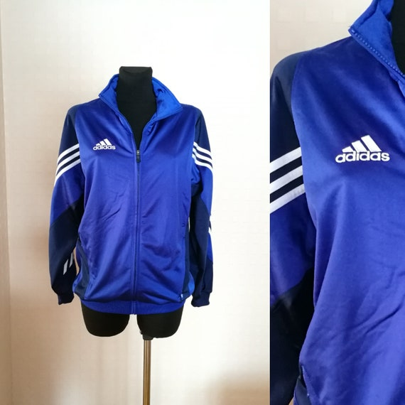 Vintage Unisex Jacke Adidas Jacke Sport Jacke blau weiß dunkelblaue Adidas  Jacke Track Joggen Jacke Retro-Adidas Sport Blazer M Größe 4ebaaee513
