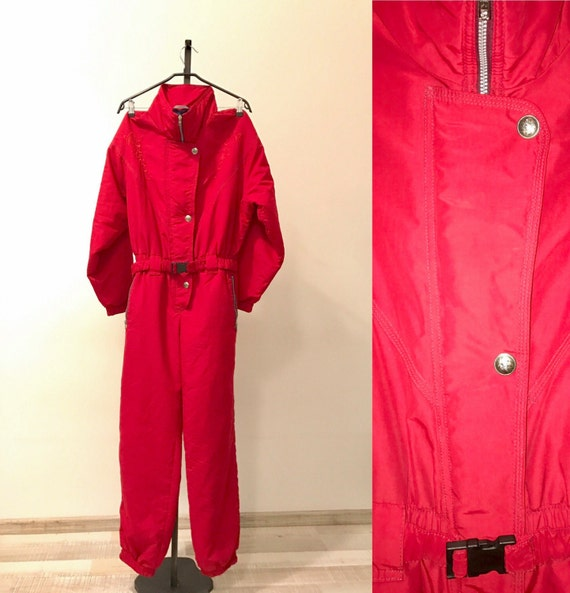 1980s Vintage One Piece Ski Suit, Hipster Red Snow