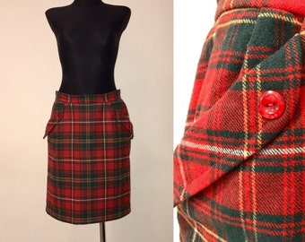 1980s Checkered Wool Skirt. Red with Green Plaid Skirt, Secretary Skirt, Red Tartan Plaid Skirt Skirt with Pokets, Royal Stewart Style