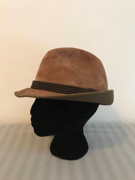 Marrone Fedora cappello alpino camoscio tirolese originale  f561f3019850