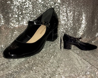 1960's Mary Jane Style Shoes Evening  Black Shoes Glossy Artificial Leather Shoes Size 5, EU 38