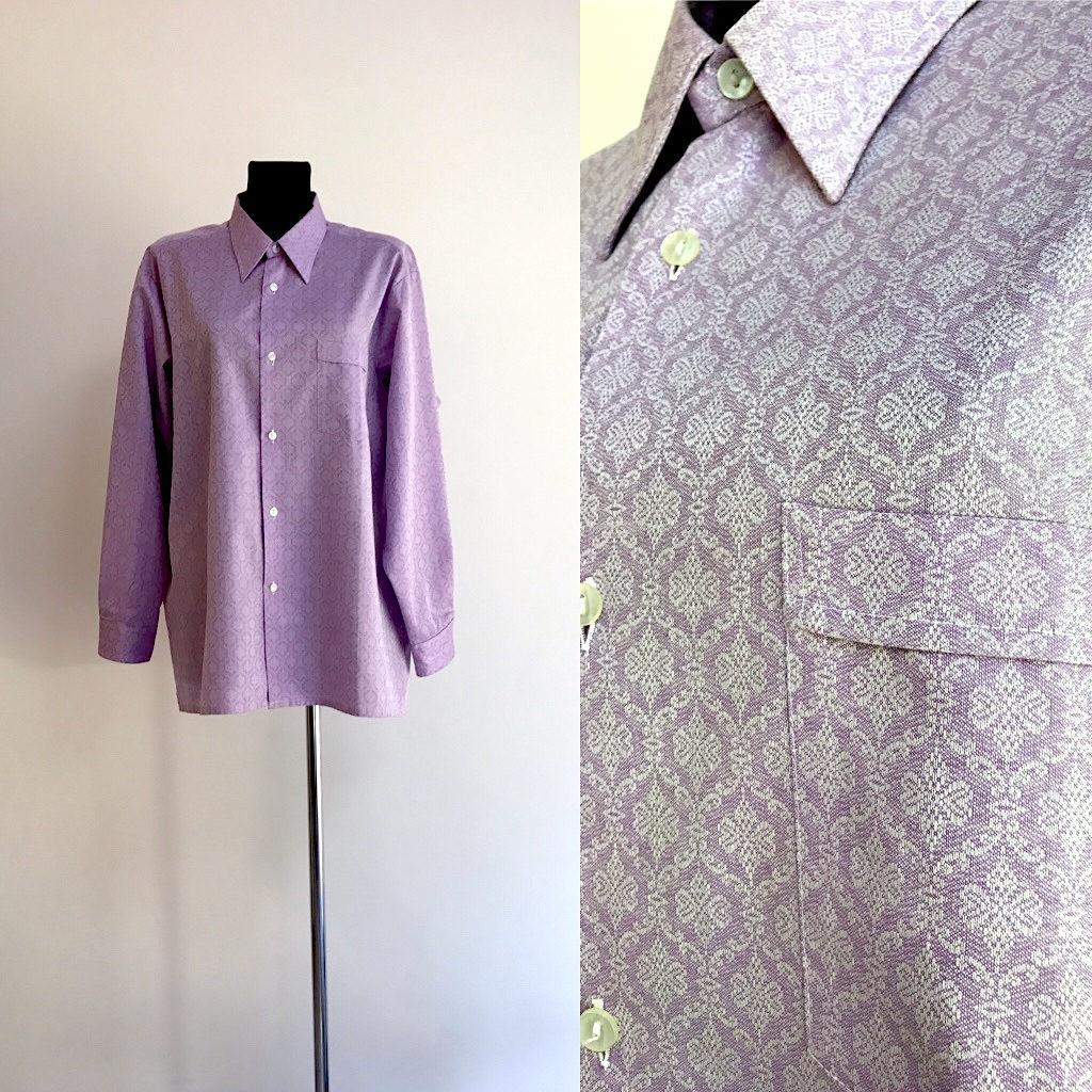 Coton Chemise chemise mauve Vintage chemise longues à carreaux Oxford à  manches longues chemise violet classique 372c4a9f0754